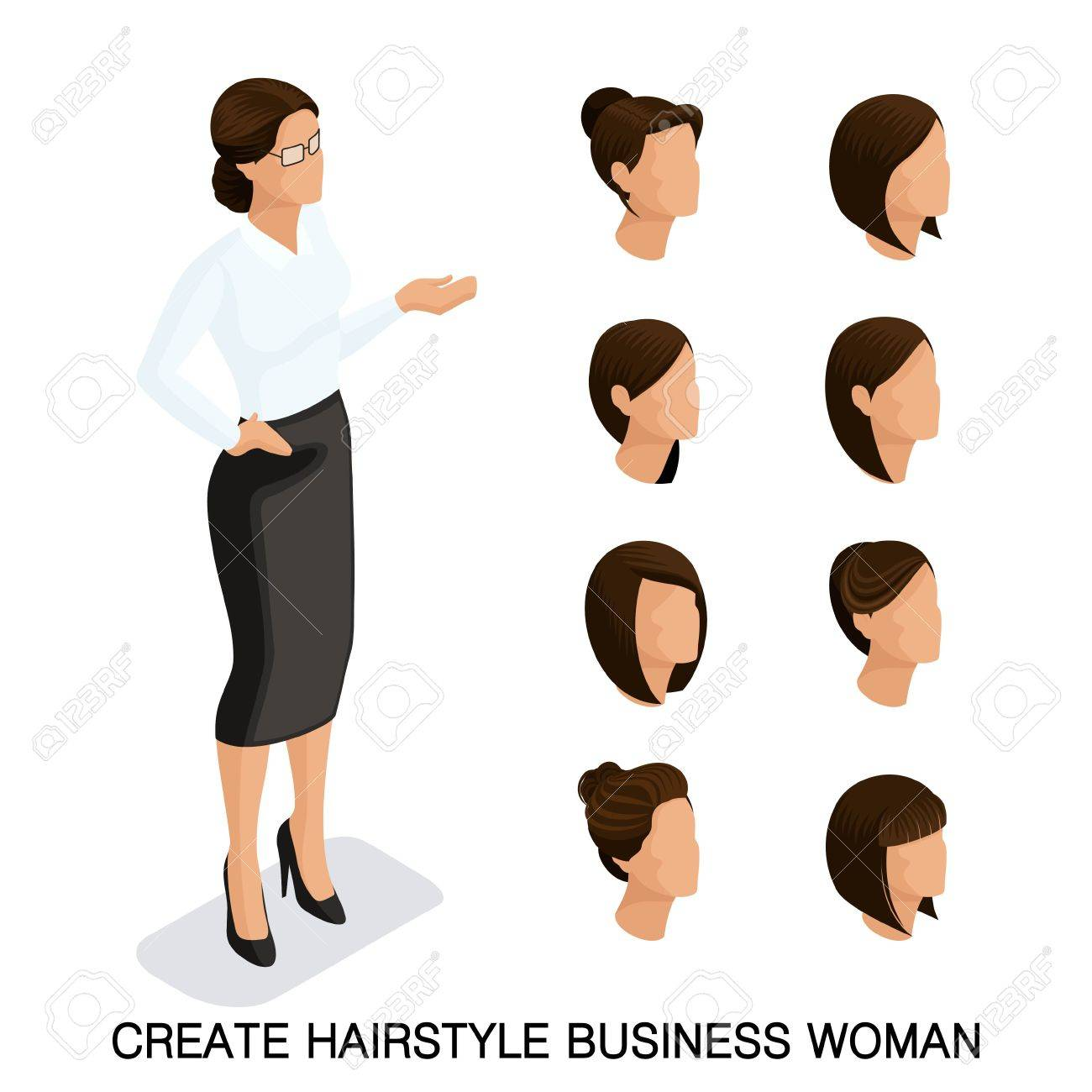 Trendy Isometric Set 2 Womens Hairstyles Young Business Woman