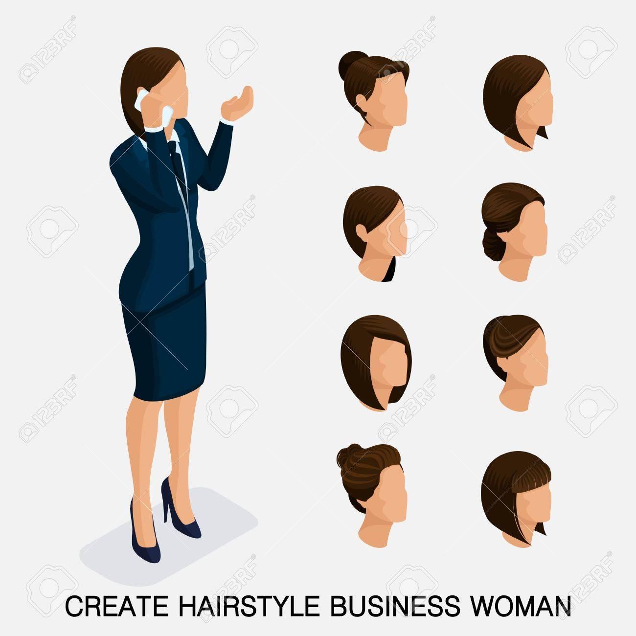 Modischer Isometrischer Satz 3 Frisuren Der Frauen Junge