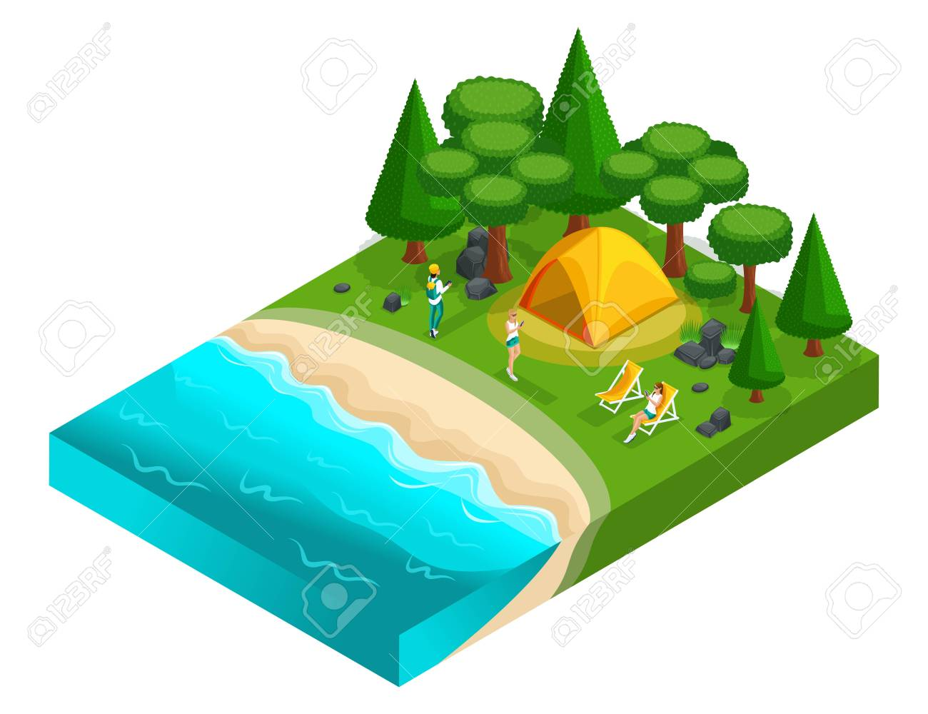 Isometrics of camping, recreation of young people of generation Z on the nature, forest, sea, beach, shore of the lake, bank of the river. Healthy lifestyle. - 110282885