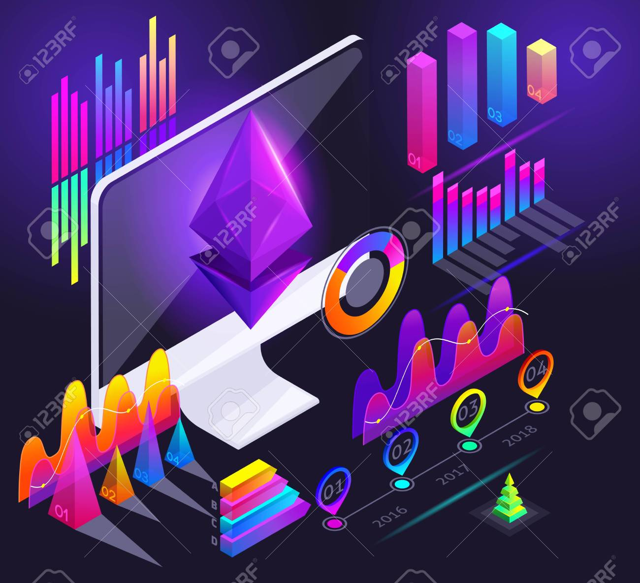 isometric holographic diagrams, graphs, finance analysis, vivid  illustration, profit accounting, crypto