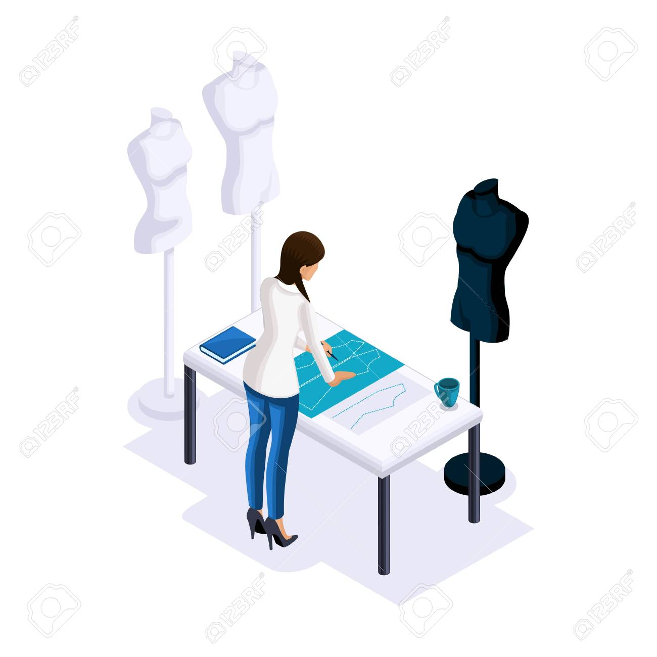 Designer Sale Clothes | Isometry Of A Tailor The Designer Makes Patterns Creating Clothes