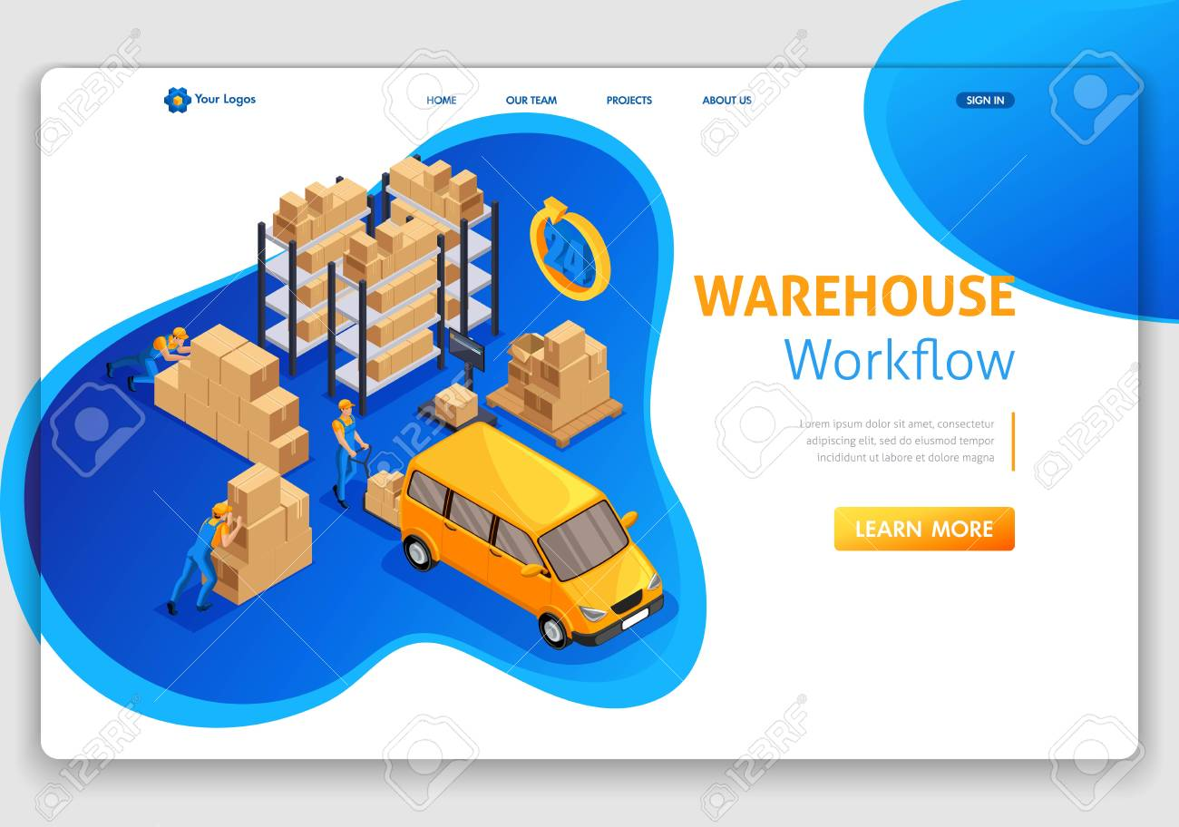 Website Template Landing page Isometric concept warehouse workflow,