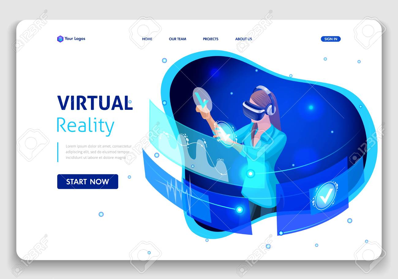 Template Website Business design. Isometric concept business woman work, Augmented reality, time management. Easy to edit and customize. - 113545226