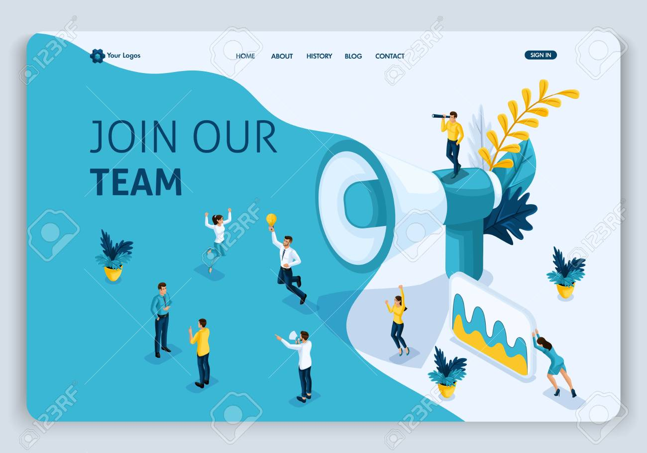 Website Template Landing page Isometric concept join our team, can use for, ui, ux web, mobile app, poster, banner. Easy to edit and customize. - 113545279