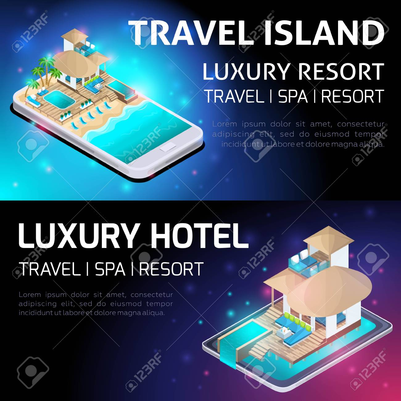 Isometry Bright Concept Of Advertising Of Luxurious Resort Travel