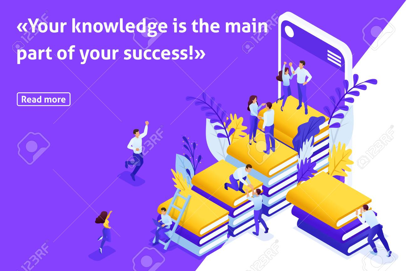 da81c8fc1 Template design article banner, Isometric concept Your knowledge your  success. Easy to edit and