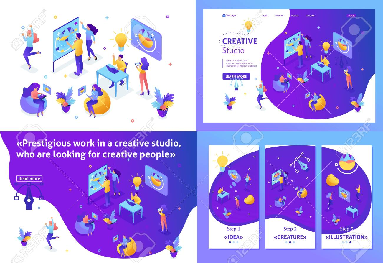Set Template Design Article Landing Page App Design Isometric Royalty Free Cliparts Vectors And Stock Illustration Image 116799837