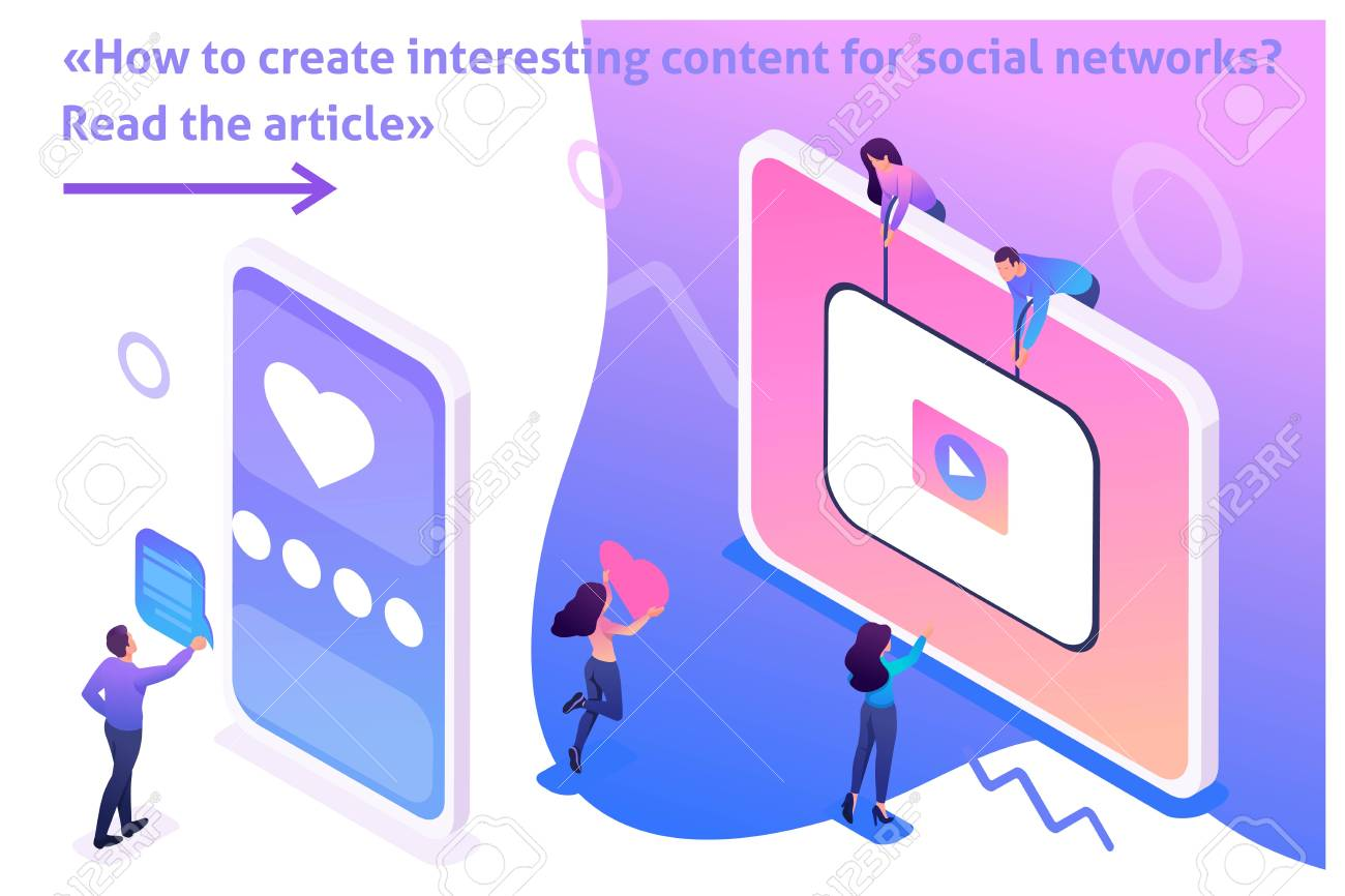 Isometric Bright Template banner article Content creation for social networks, video development and promotion. - 124809709