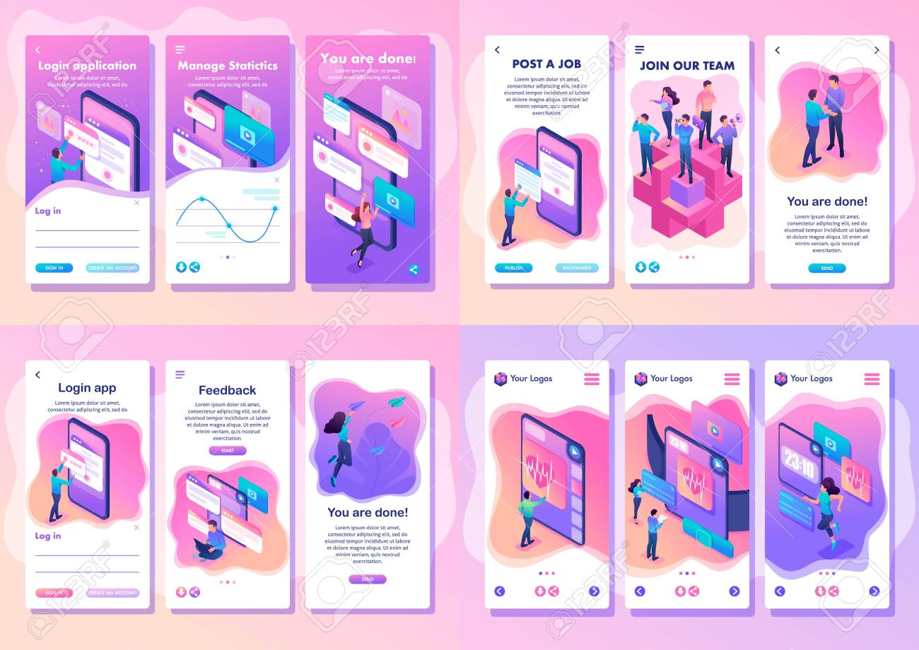 Set Isometric Template app bright concept testing device, feedback, ux design, join our team, smartphone apps. - 121080465