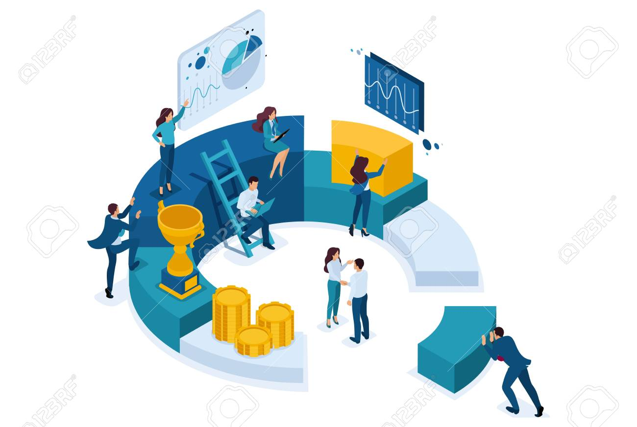 Isometric Businessmen Make A Report On Digital Marketing. Concept.. Royalty  Free Cliparts, Vectors, And Stock Illustration. Image 123578405.