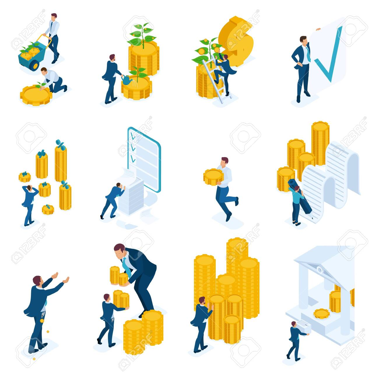 Isometric concepts of investment, Bank loans, mortgage. For website and mobile application design. - 125911850