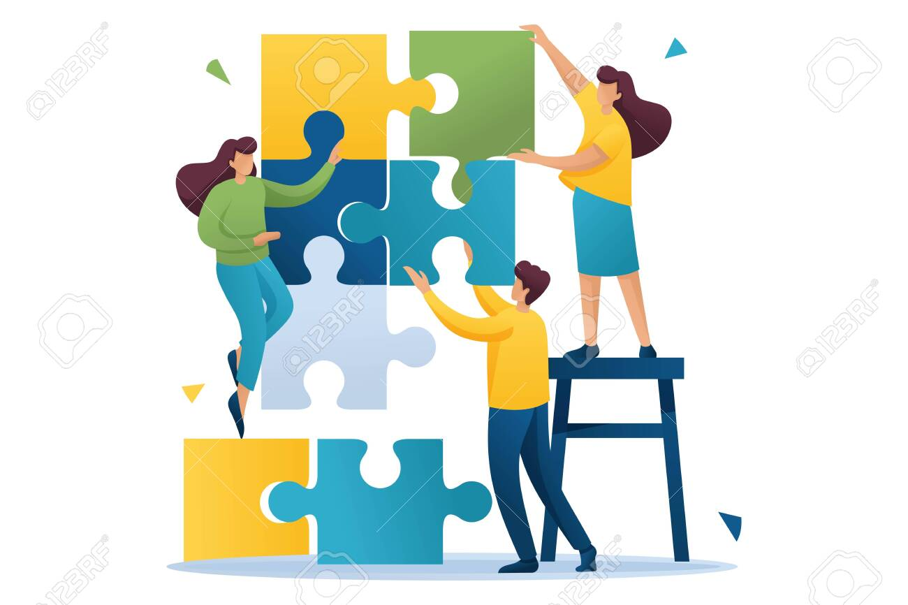 Young people connecting puzzle elements, teamwork, cooperation, partnership. Flat 2D character. Concept for web design. - 131545628