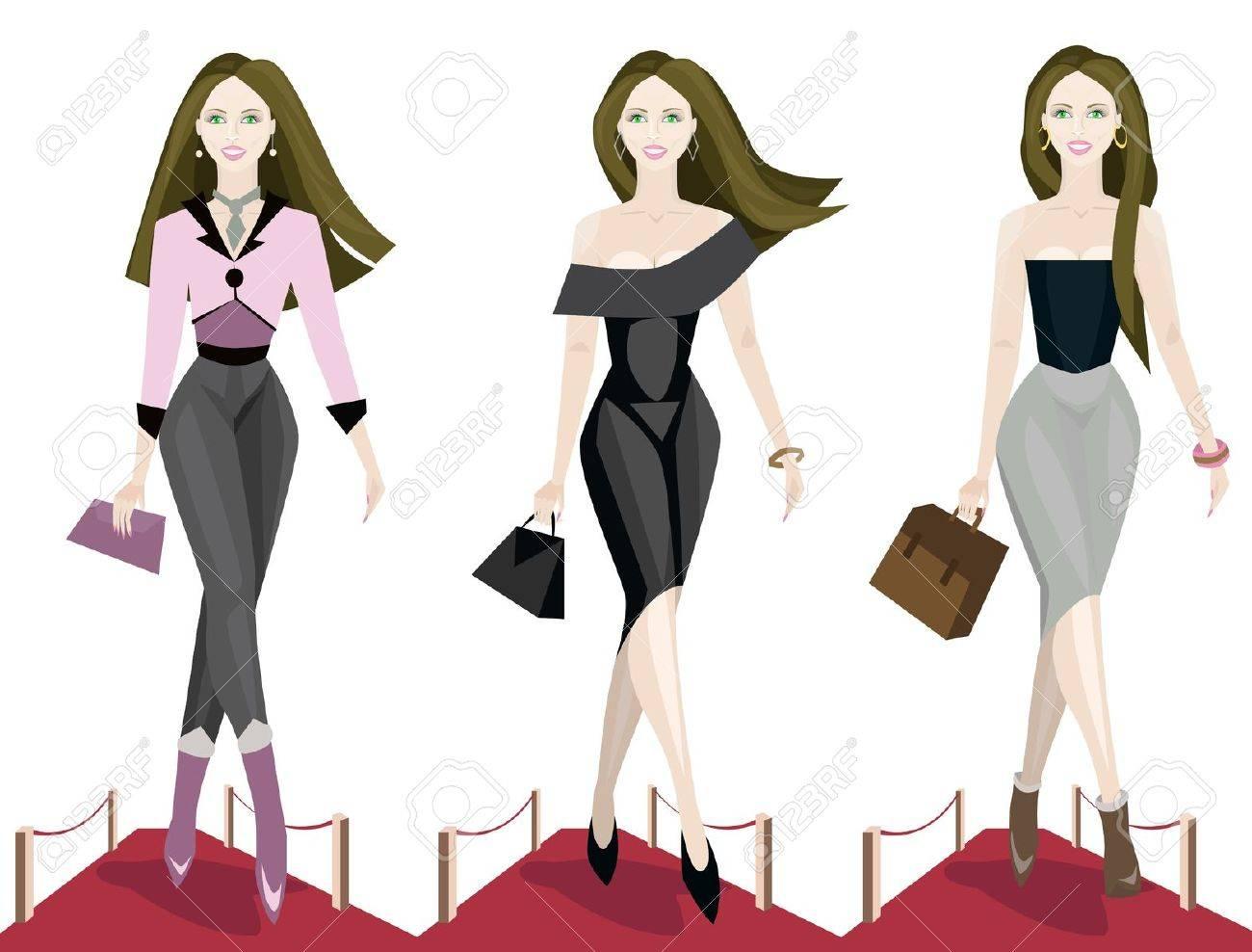 illustration of three fashion models on the catwalk. Stock Vector - 11080958