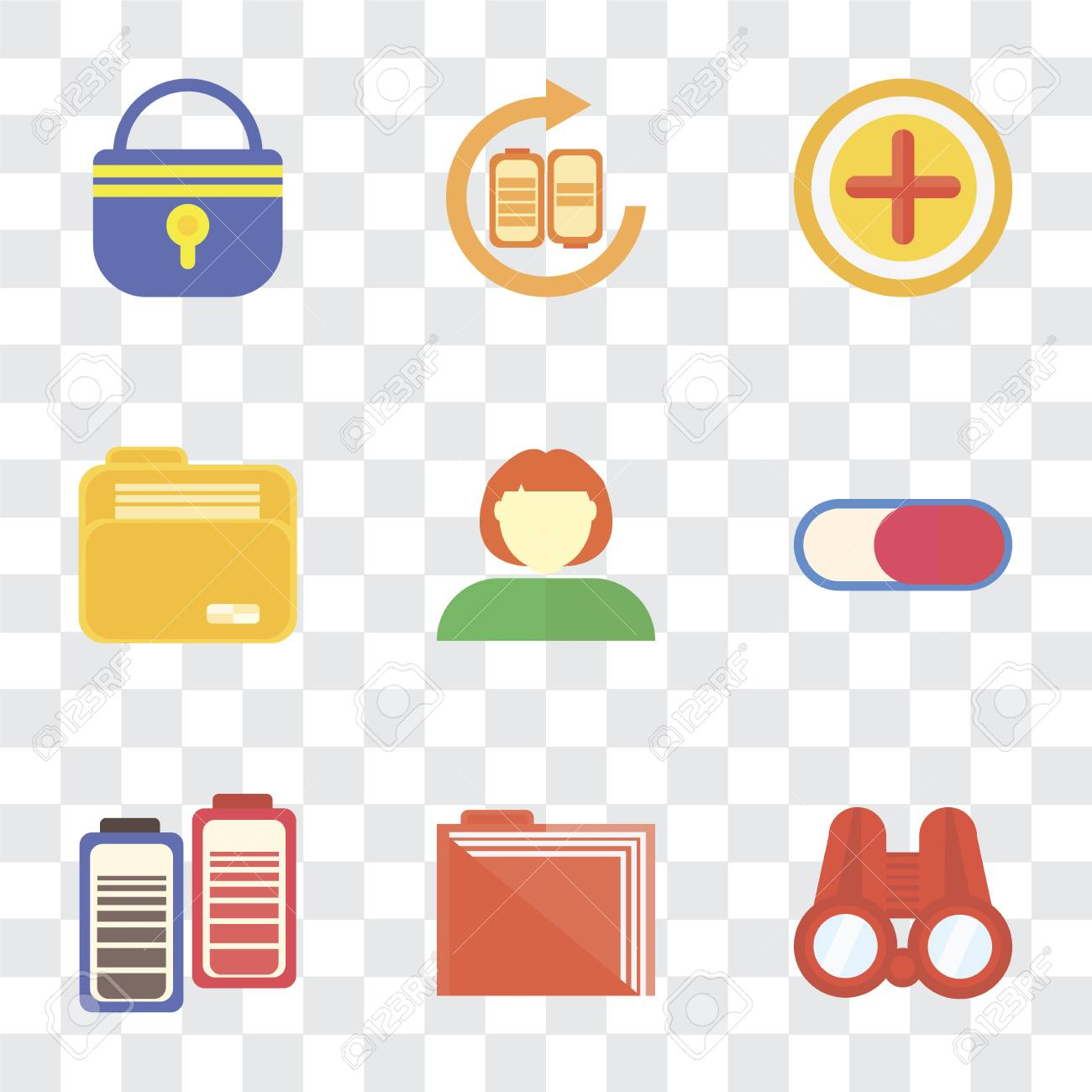 Set Of 9 simple transparency icons such as Binoculars, Folder, Battery,  Switch, User, Add, Locked, can be used for mobile, pixel perfect vector  icon