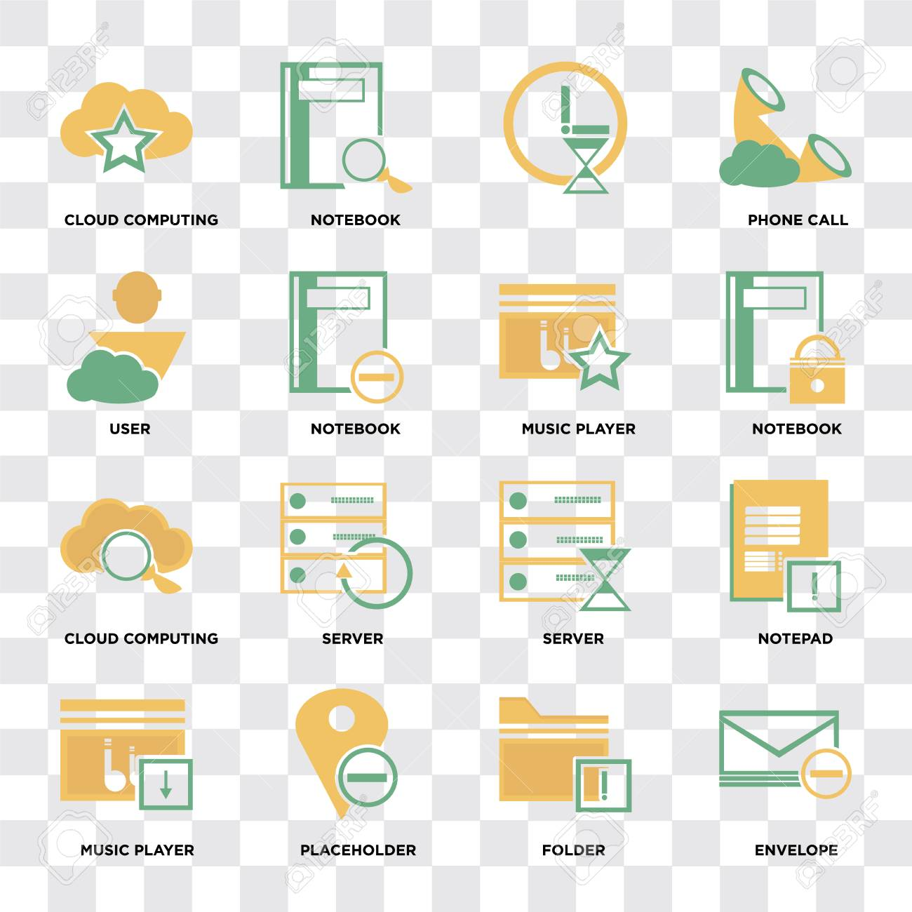 Set Of 16 icons such as Envelope, Folder, Placeholder, Music