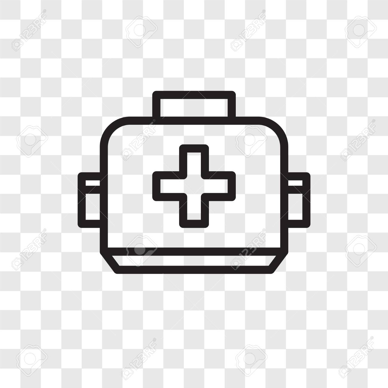 First aid box vector icon isolated on transparent background,