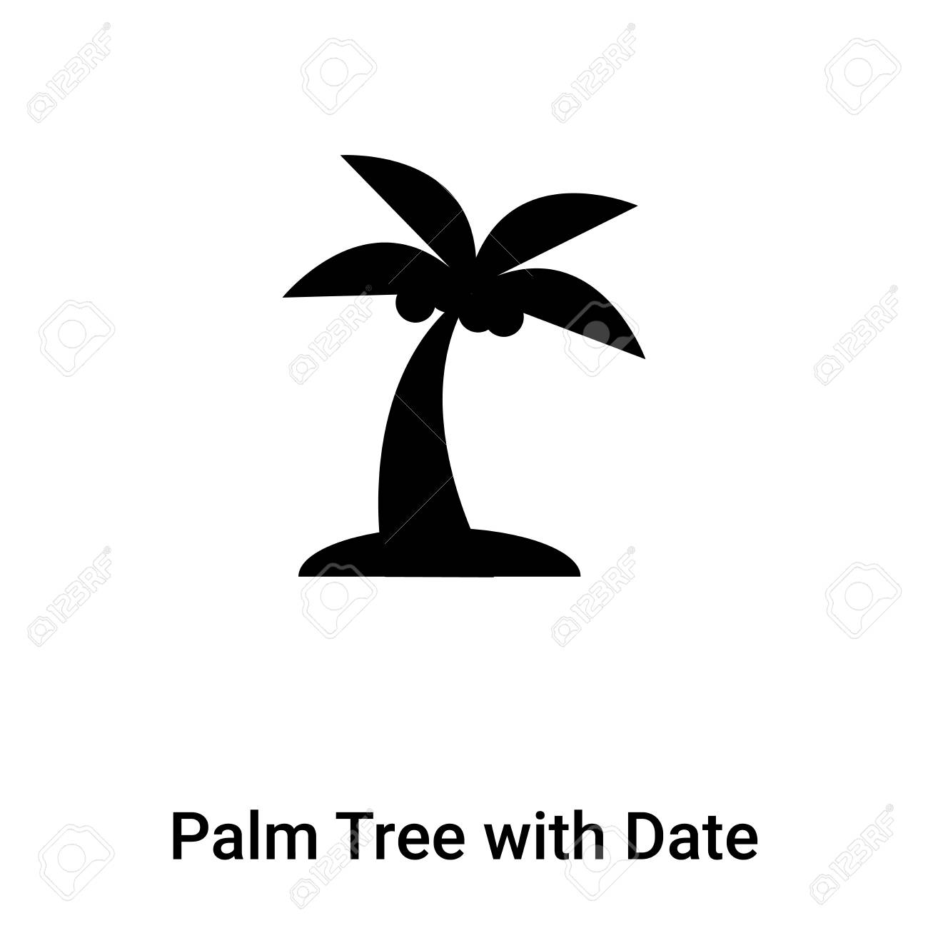 Palm Tree With Date Icon Vector Isolated On White Background