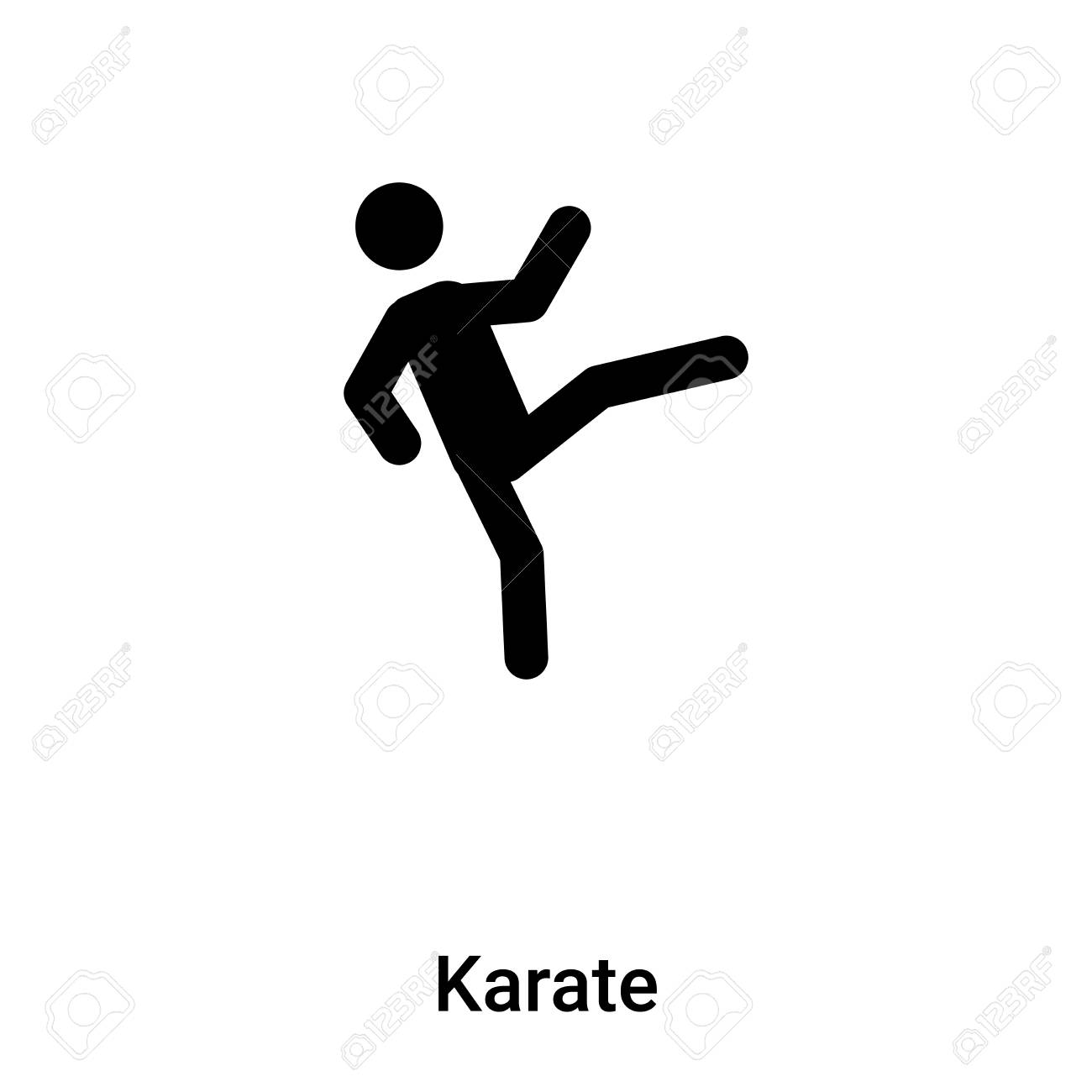 Karate Icon Vector Isolated On White Background Filled Black