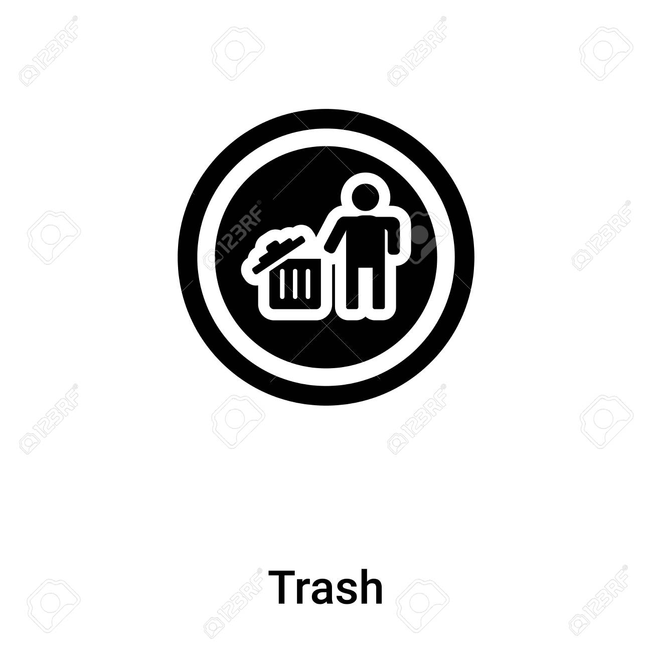 Trash icon isolated on white background, concept of Trash sign on transparent background, filled black symbol - 125620012