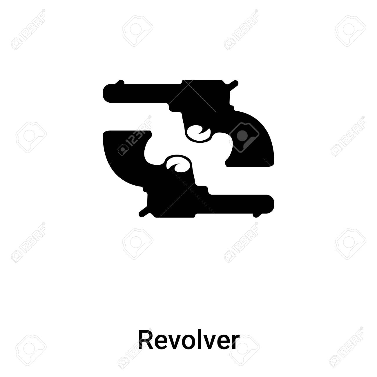 Revolver icon vector isolated on white background, concept of Revolver sign on transparent background, filled black symbol - 121530572
