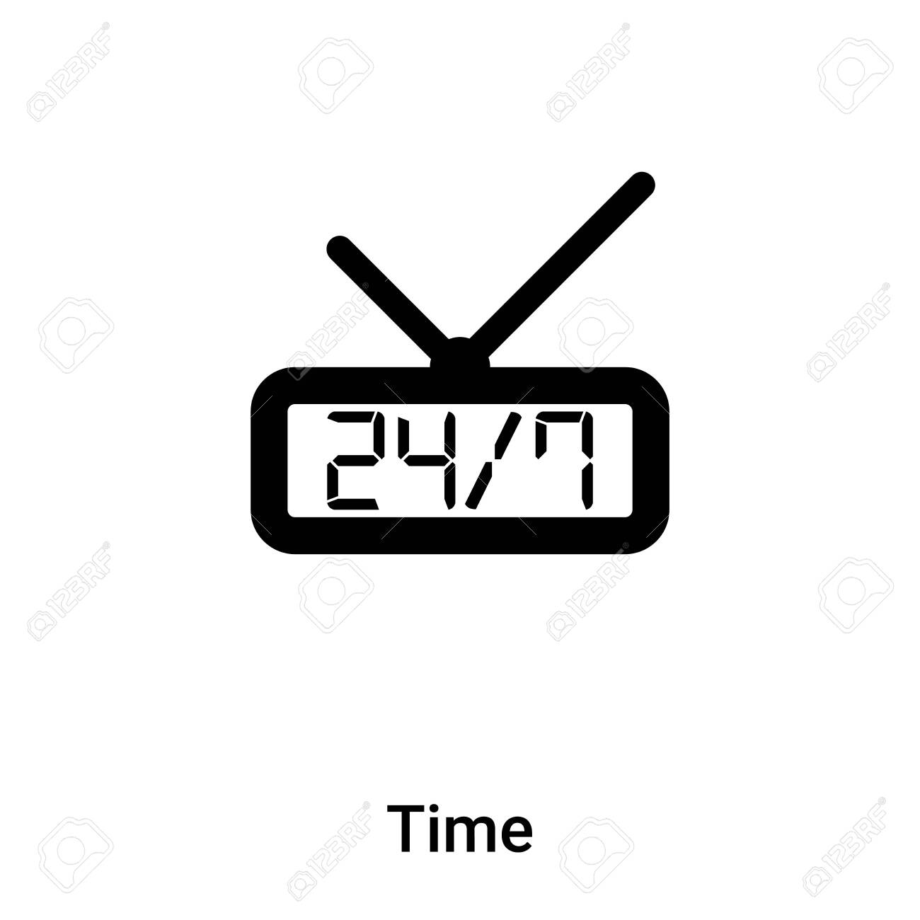Time icon vector isolated on white background, concept of Time sign on transparent background, filled black symbol - 121530599