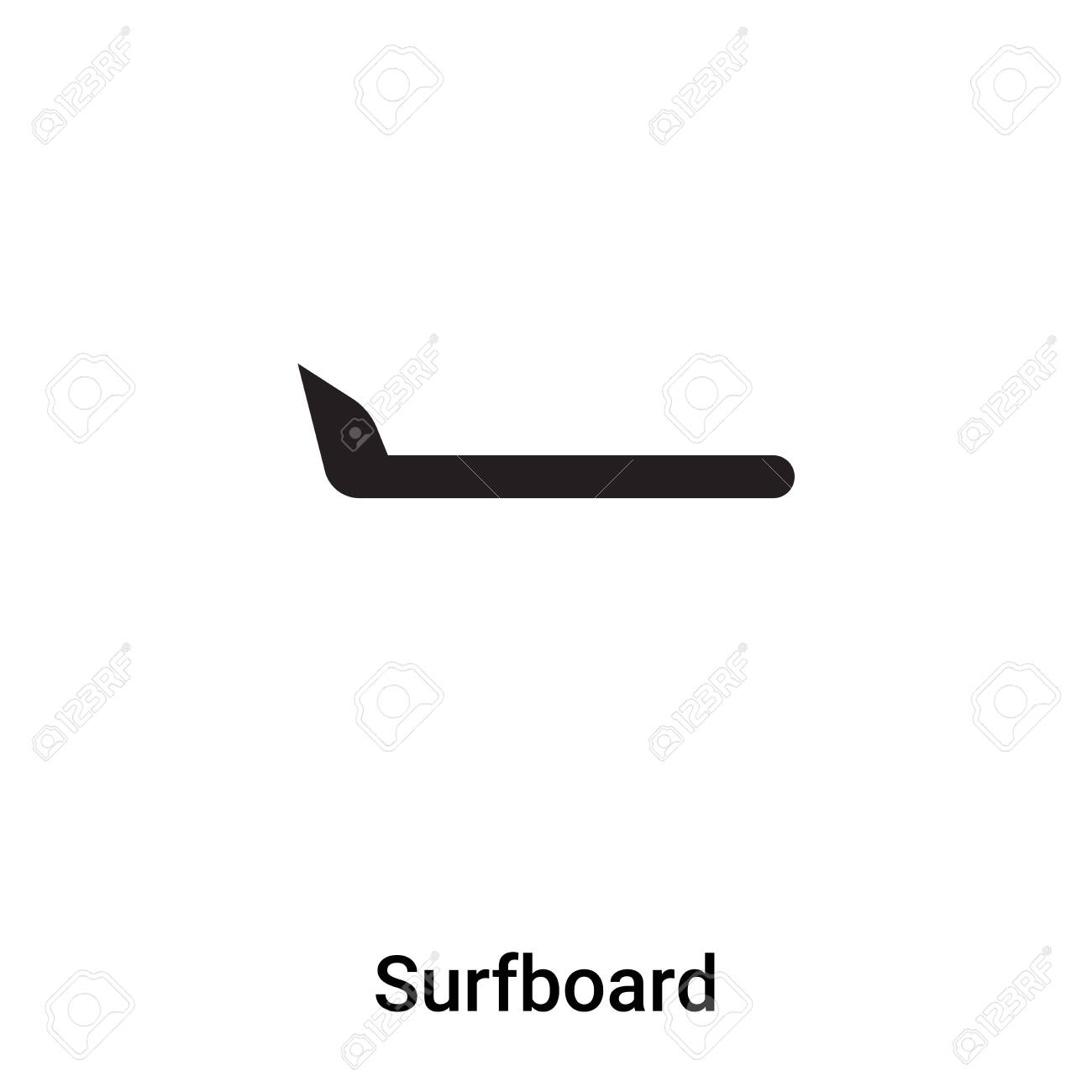 Surfboard icon vector isolated on white background, concept of Surfboard sign on transparent background, filled black symbol - 121530598