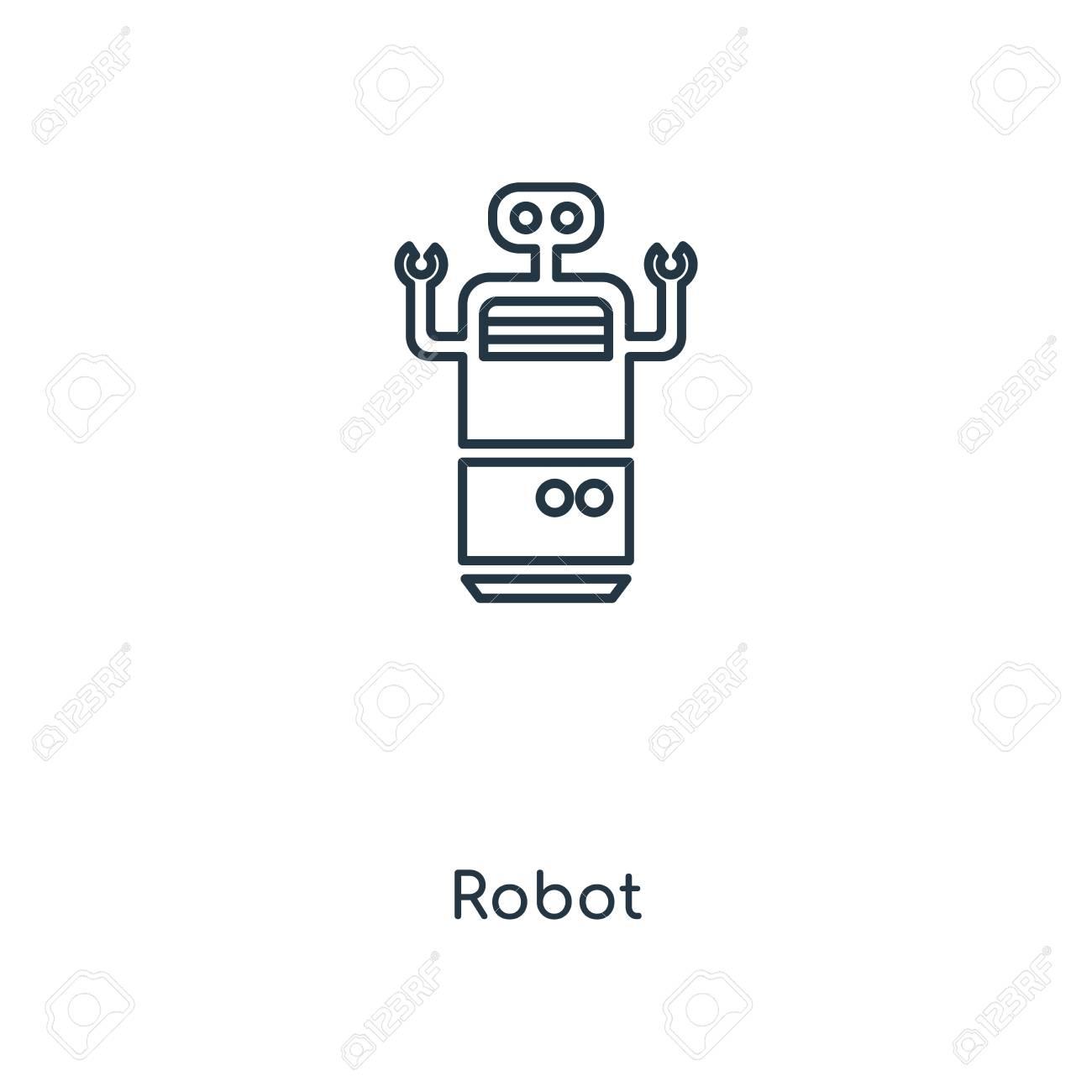 Robot concept line icon  Linear Robot concept outline symbol