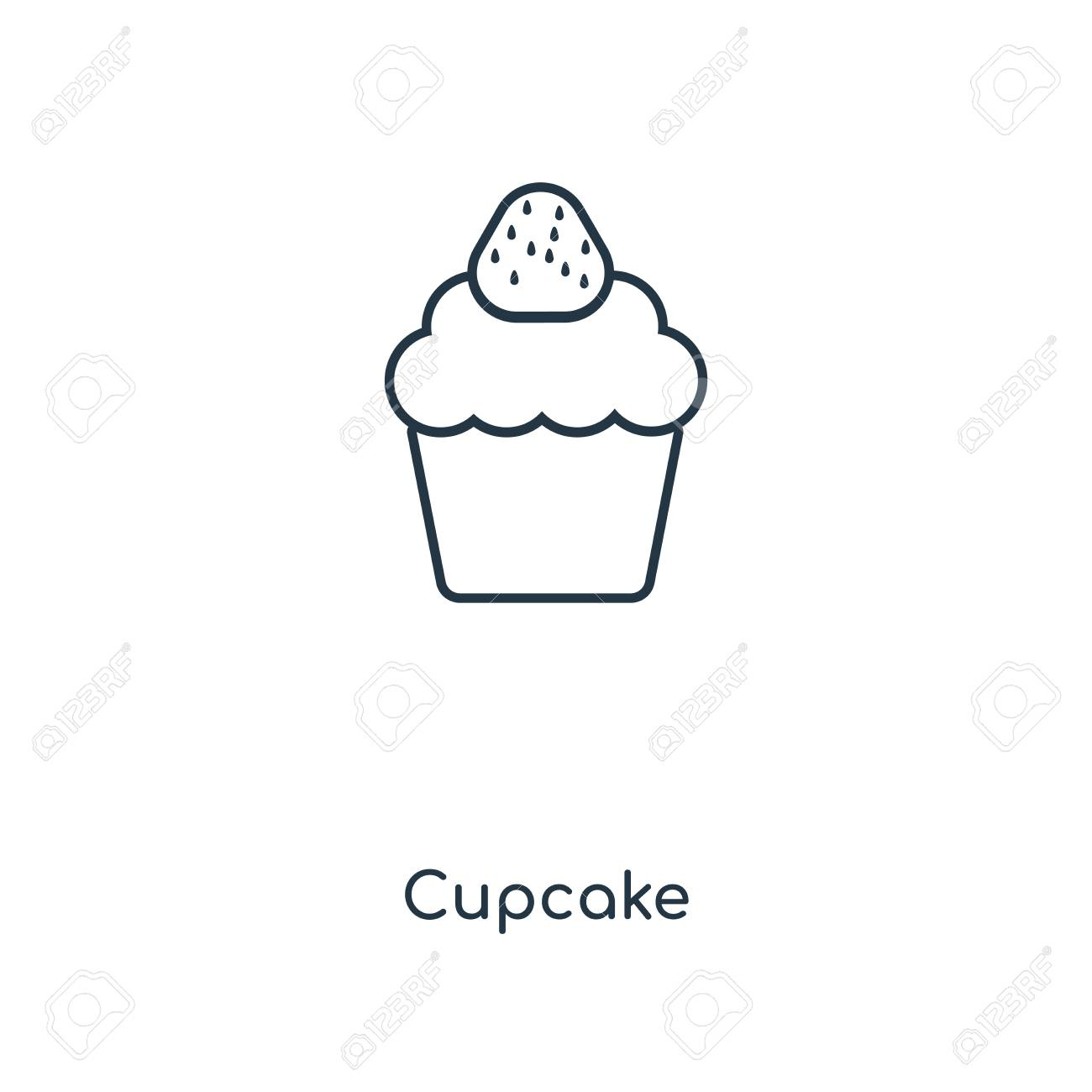 Cupcake Concept Line Icon Linear Cupcake Concept Outline Symbol