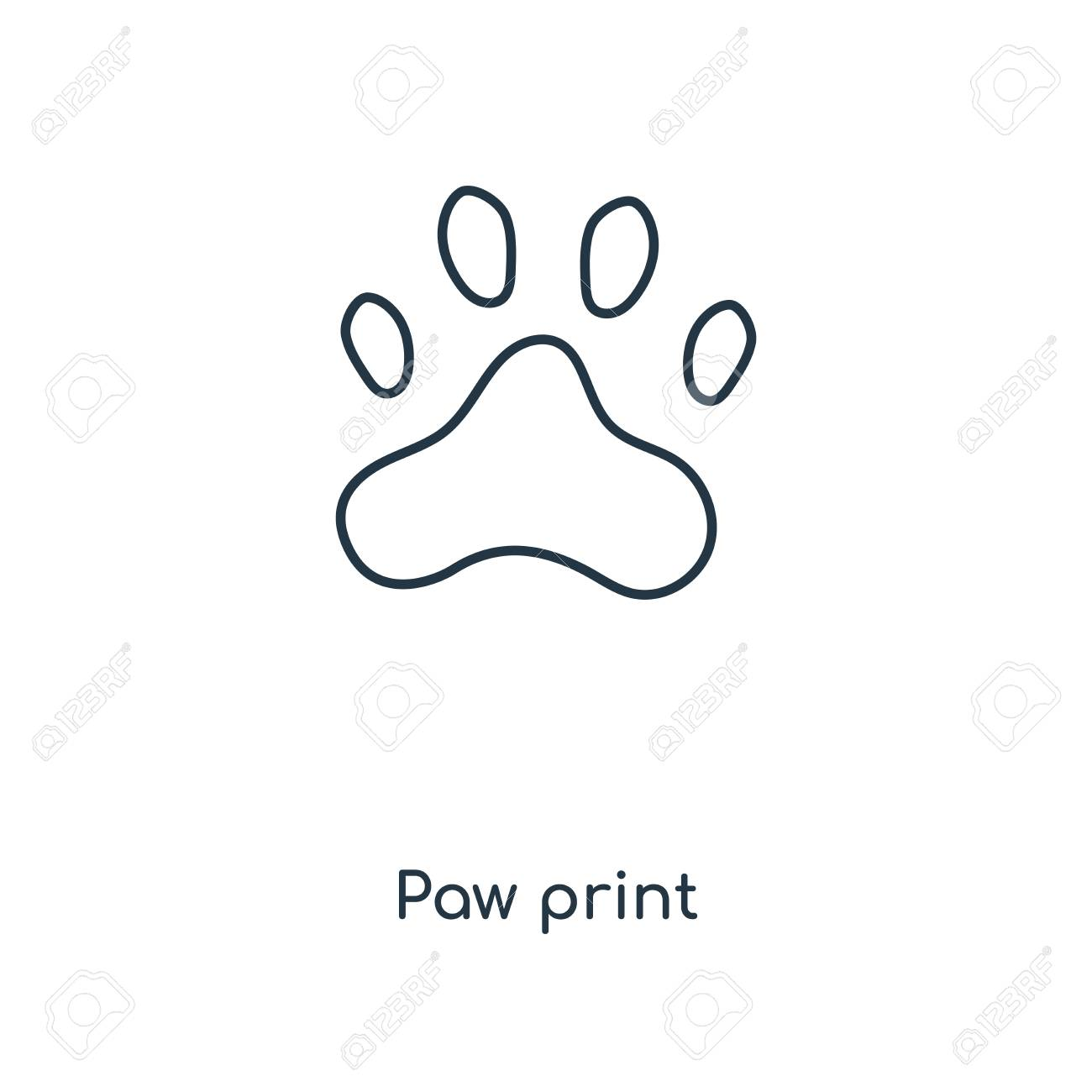 Paw print concept line icon  Linear Paw print concept outline