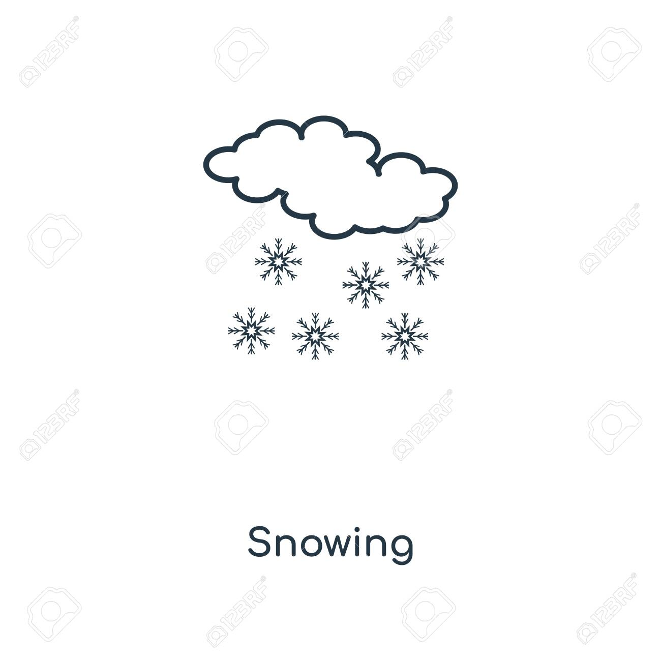 Snowing concept line icon. Linear Snowing concept outline symbol design. This simple element illustration can be used for web and mobile UI/UX. - 113551699