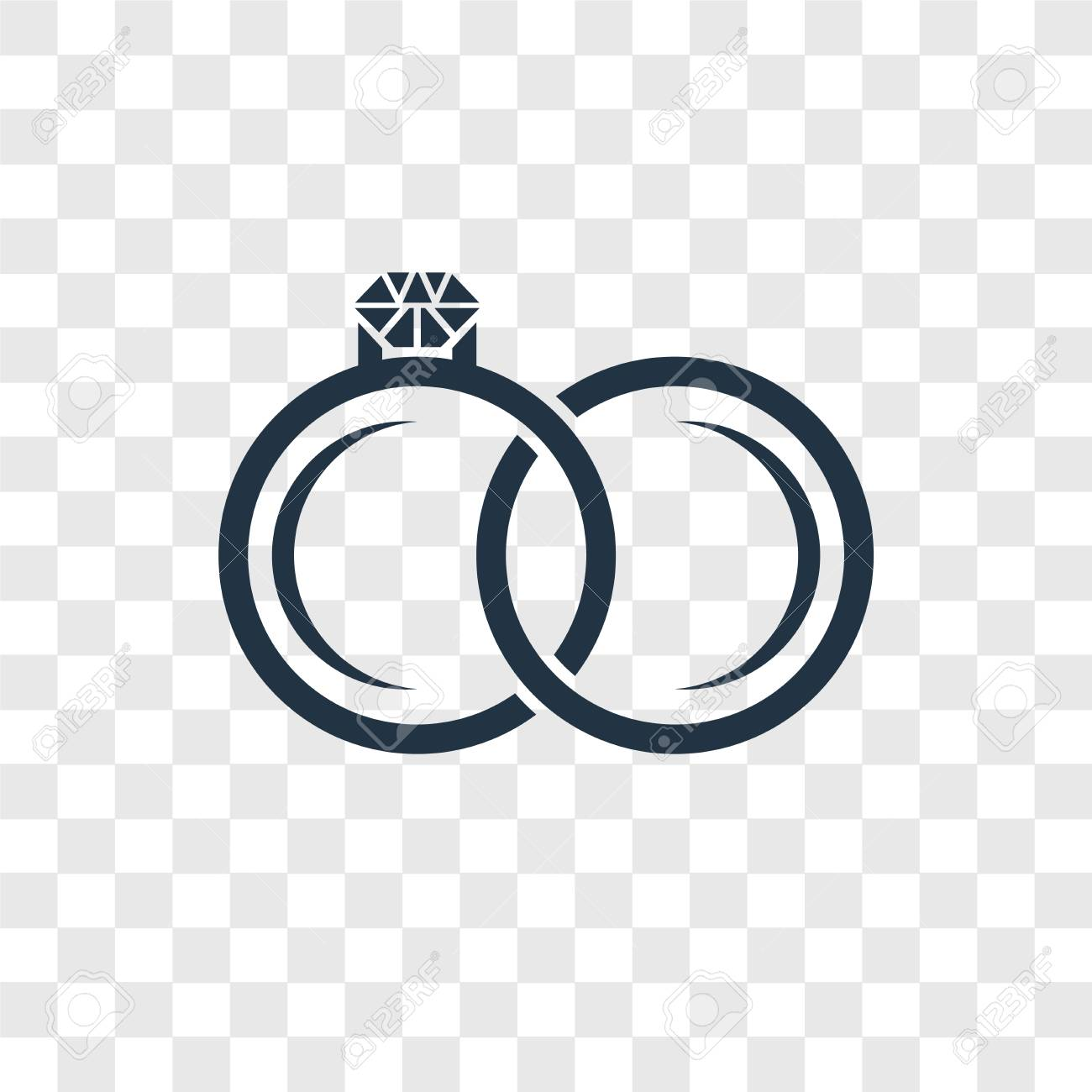 Engagement Ring Vector Icon Isolated On Transparent Background
