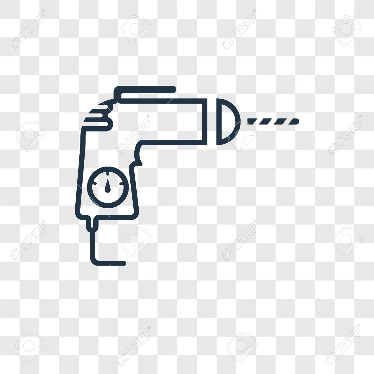 Drill concept vector linear icon isolated on transparent background, Drill concept transparency concept in outline style - 113553036