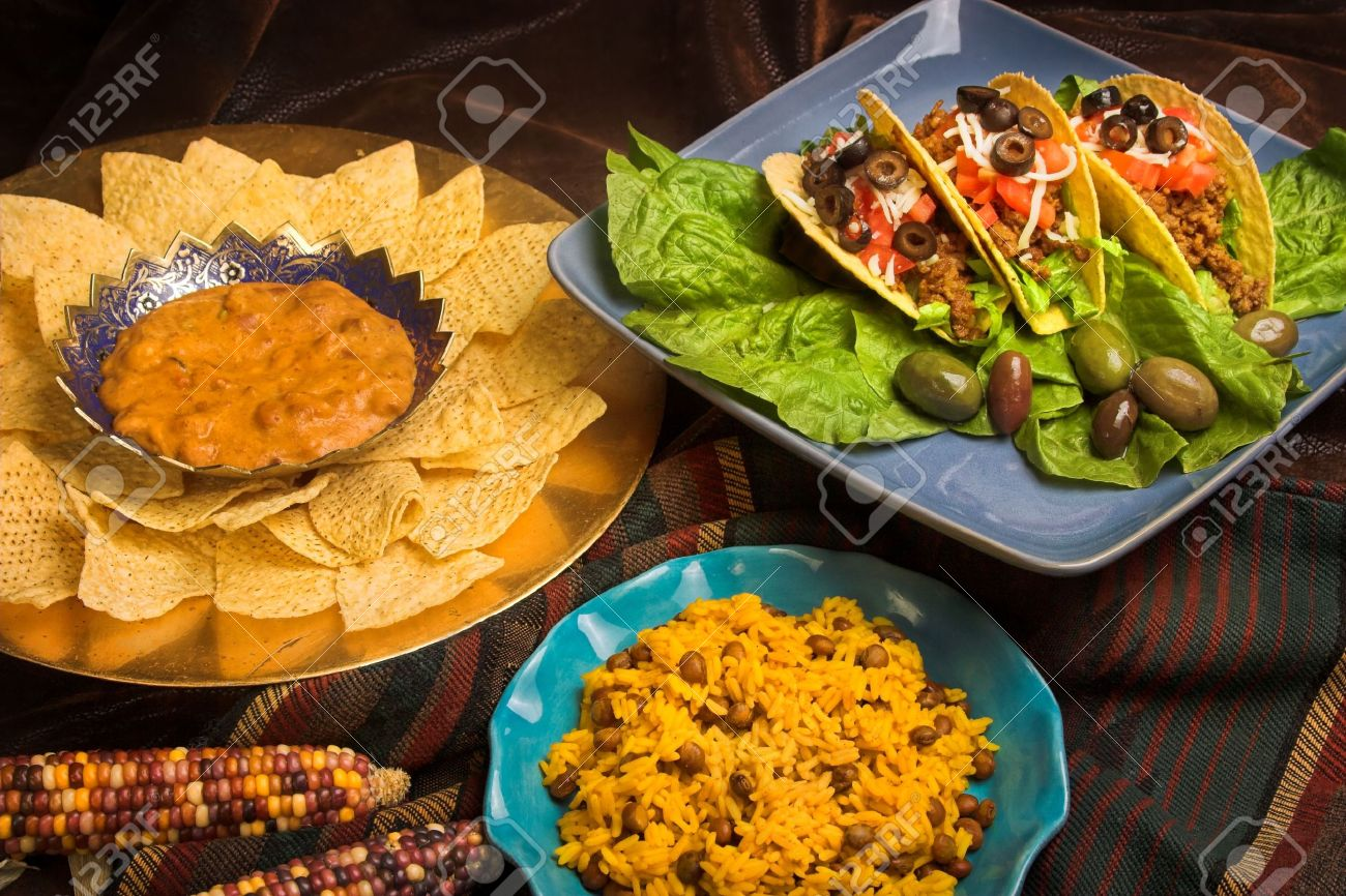 Dinner table with mexican food - Stock Photo Mexican Dinner Variety