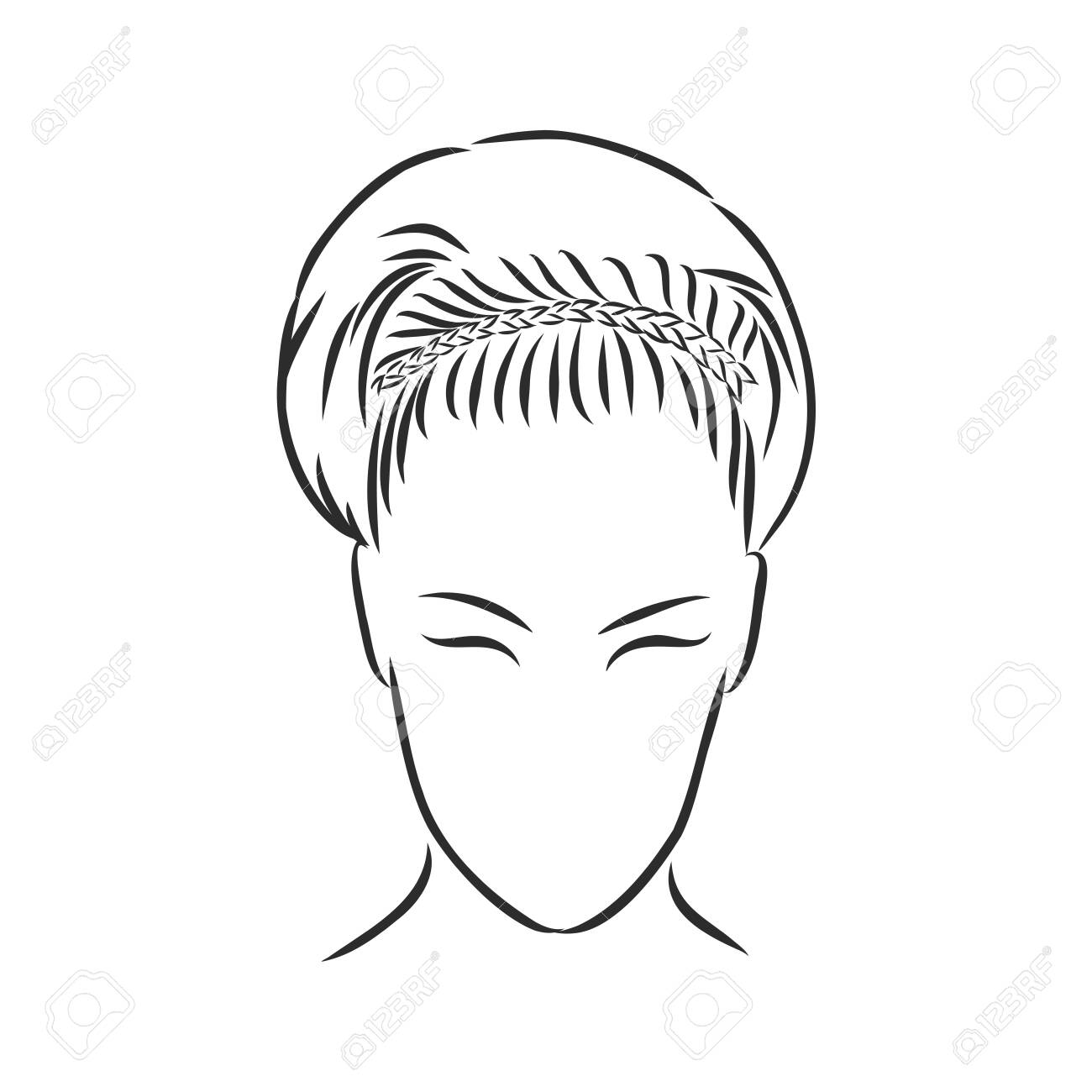 A sketch of a female hairstyle. A freehand vector illustration. - 137755111
