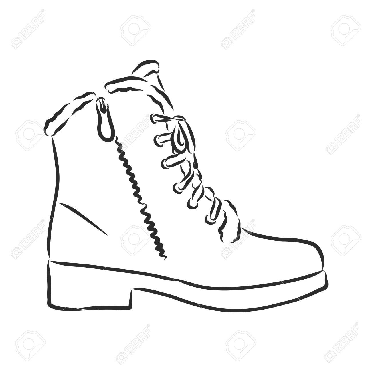 men's winter boots, winter shoes. vector sketch illustration - 139484072