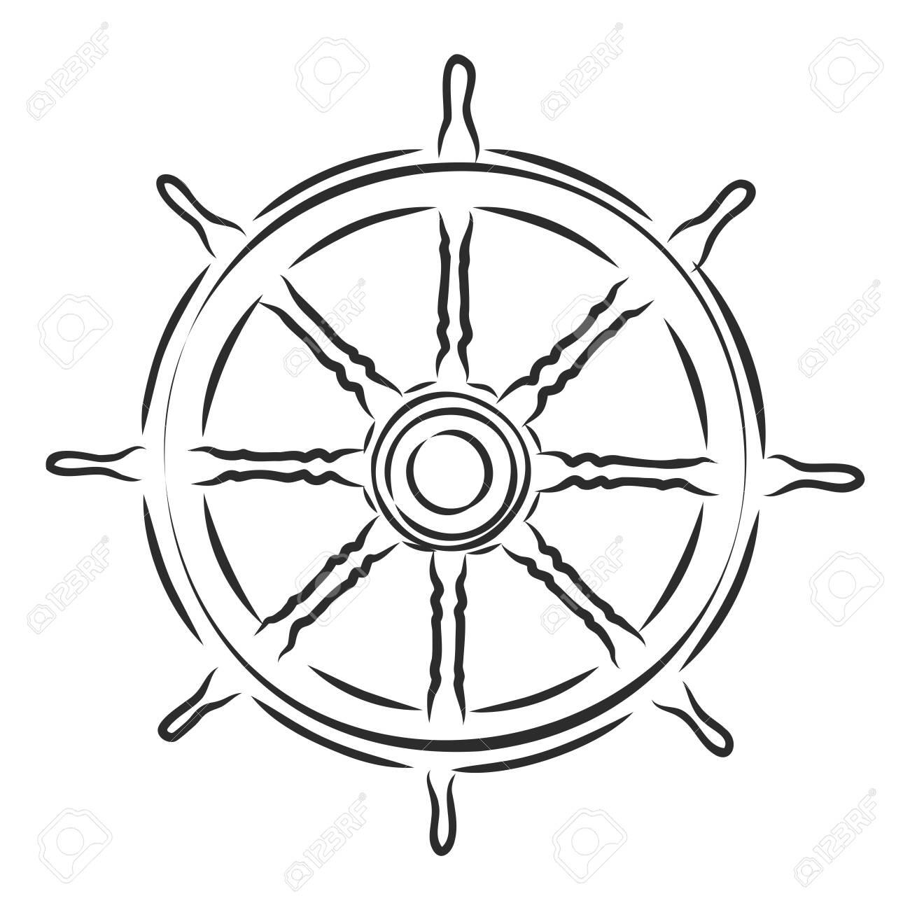 sea wooden helm yacht, vector sketch illustration - 139574744
