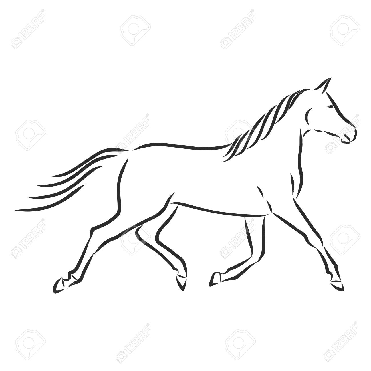 Beautiful Running Horse Silhouette Pet Vector Sketch Illustration Royalty Free Cliparts Vectors And Stock Illustration Image 141470904