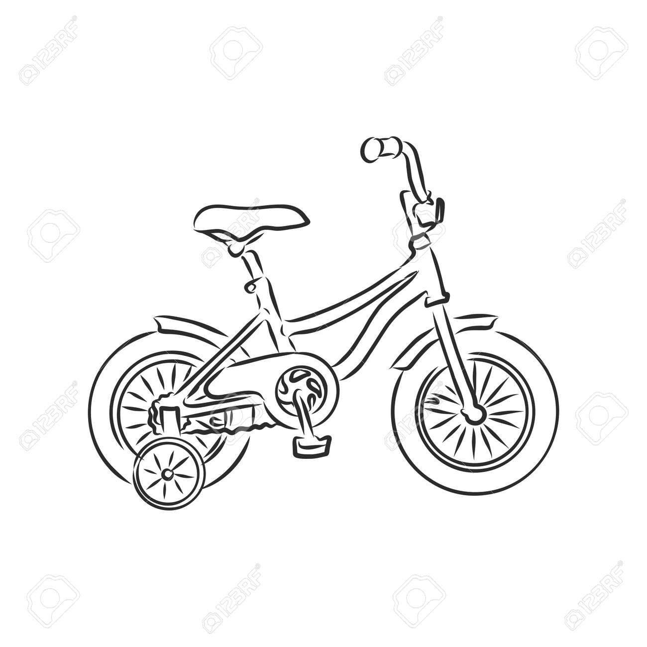 Children's bicycle. Element for extreme sports. Outdoor activity element. Black and white vector isolated on white background. - 151256532