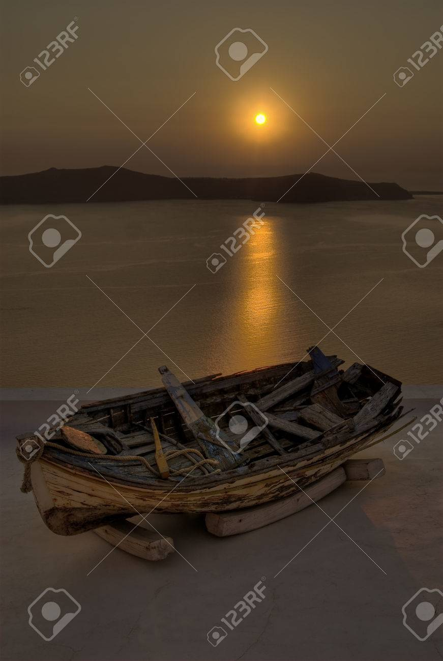 Boat in sunset Stock Photo - 1584030