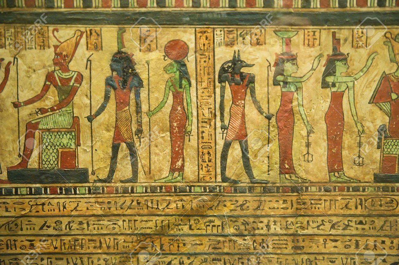 Egyptian Hieroglyphics On Papyrus Stock Photo