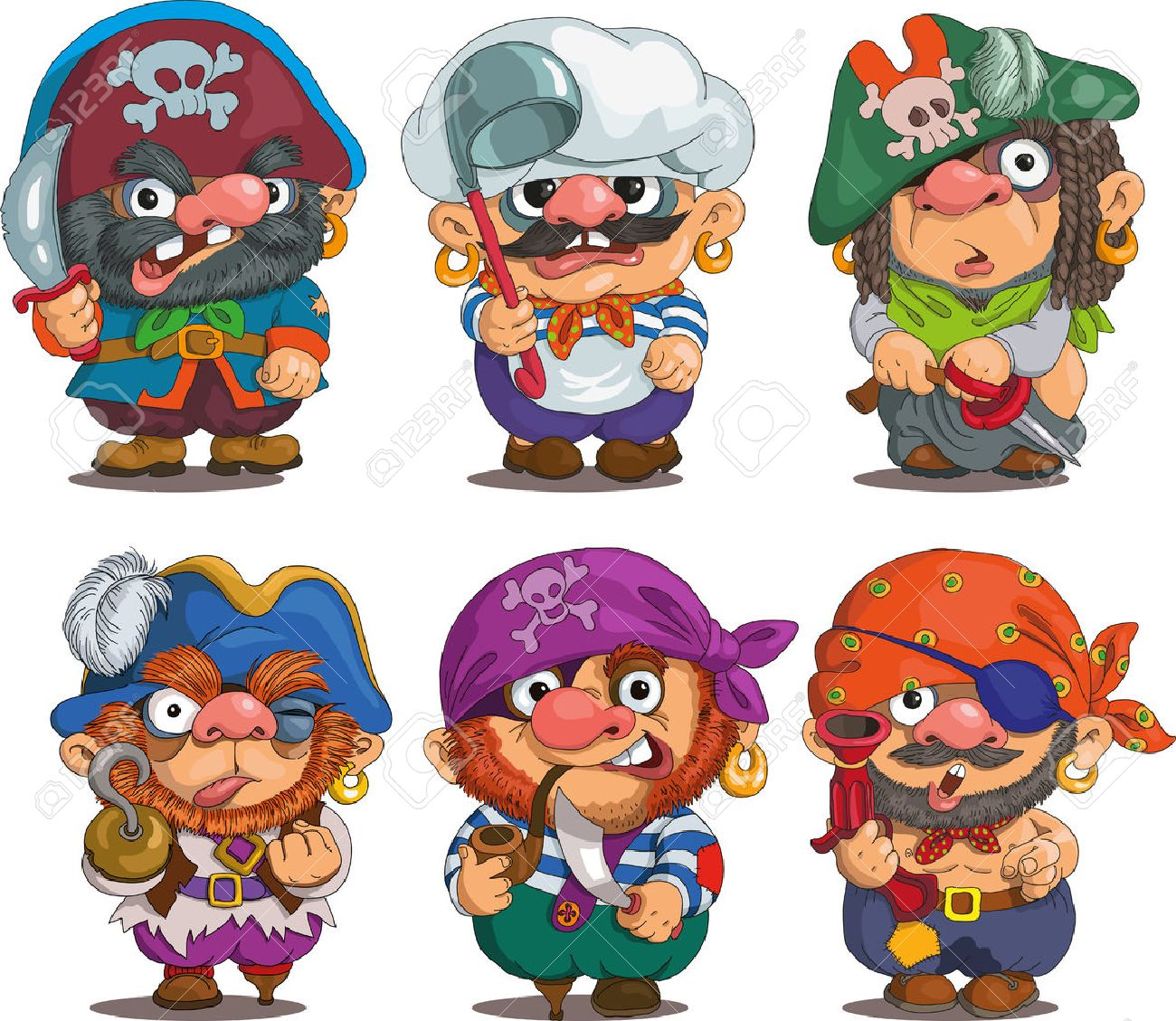 Funny cartoon. Characters. Pirates set. Isolated objects. - 45835331