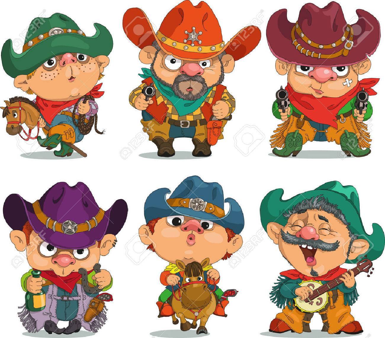 Cartoon cowboy. Funny cartoon. Characters. Cowboy set. Isolated objects. - 45835339