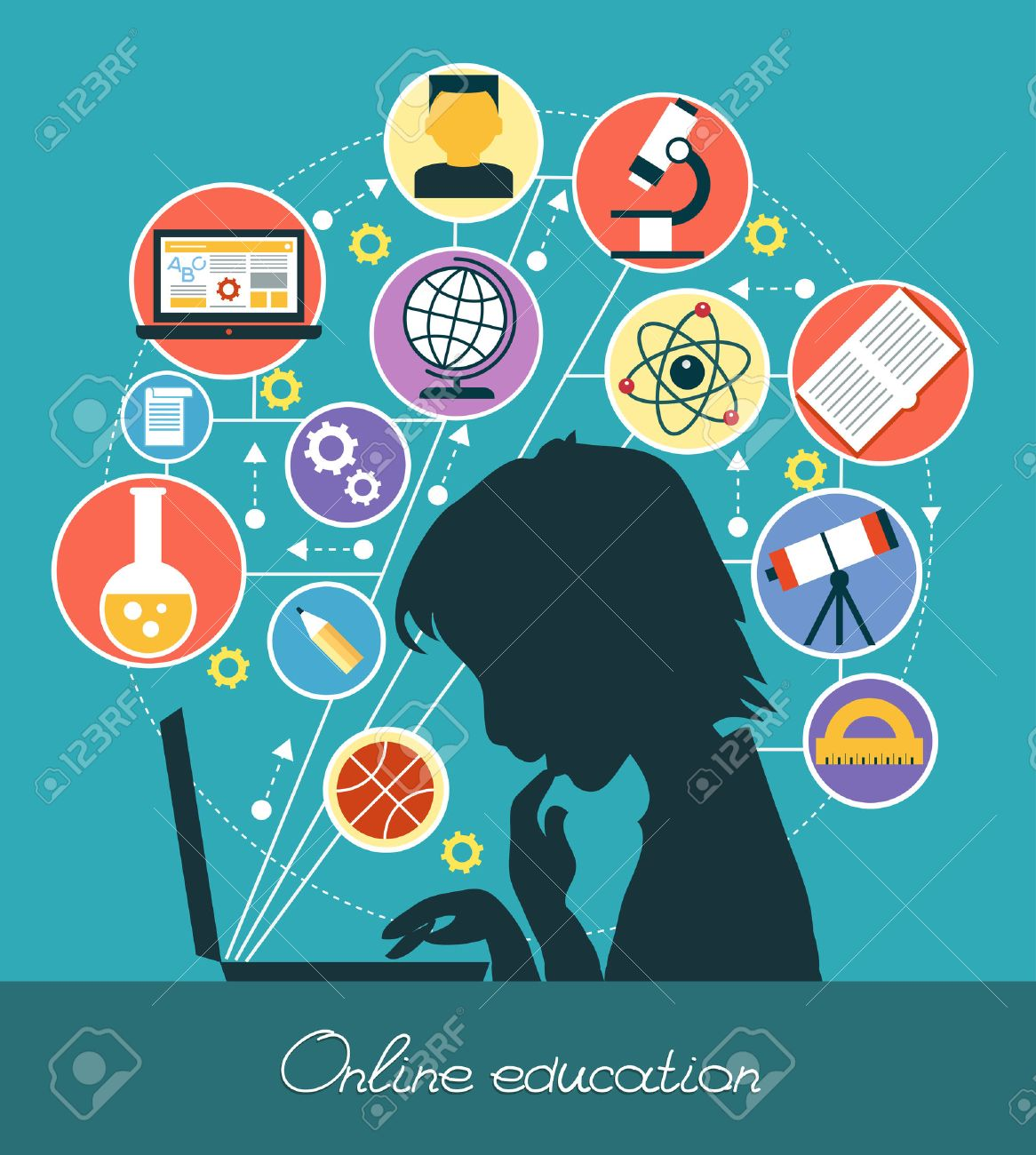 Icons education. Silhouette of a boy surrounded by icons of education. Concept online education. - 45835359