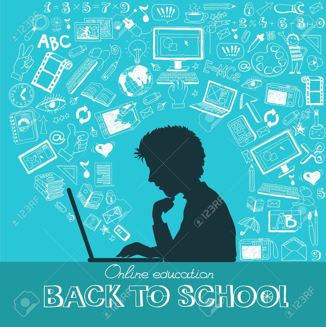 Back to school - doodle set, colored icons flat. Standard-Bild - 46202919