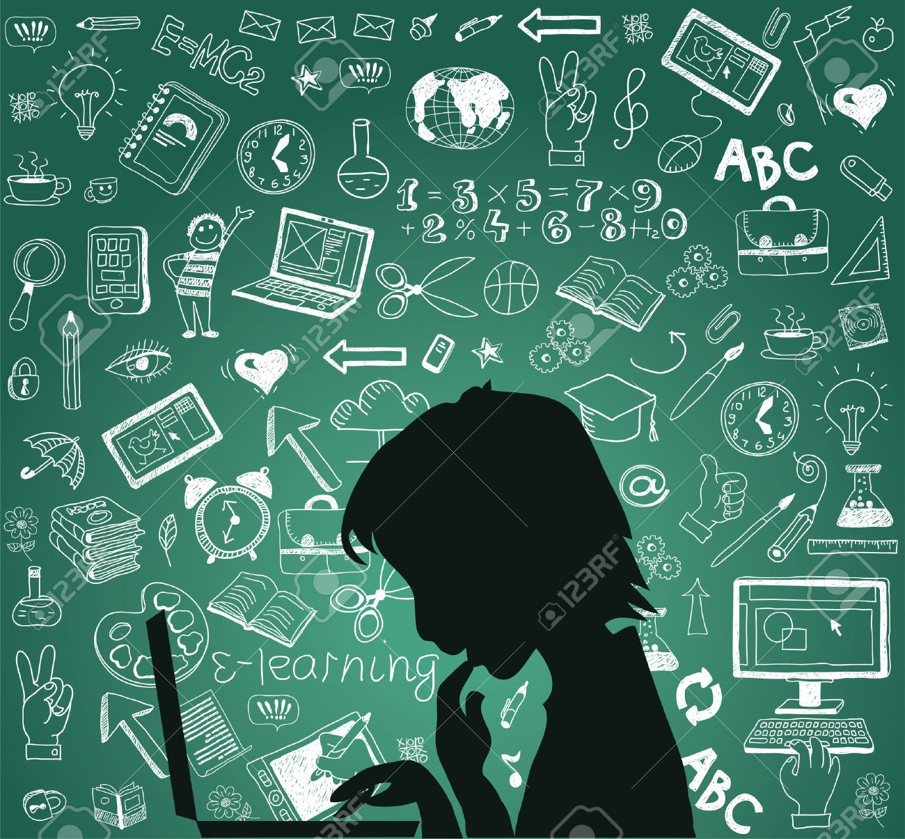Back to school - doodle set, concept background education. - 46202952