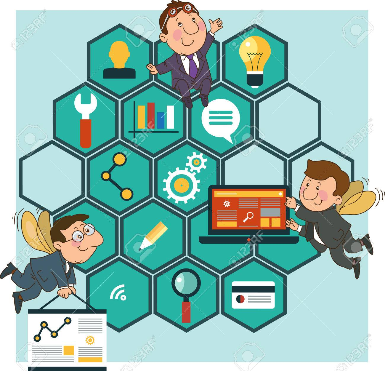 Hard Working people cartoon icons SEO optimization concept on the background of the honeycomb structure. - 46203079