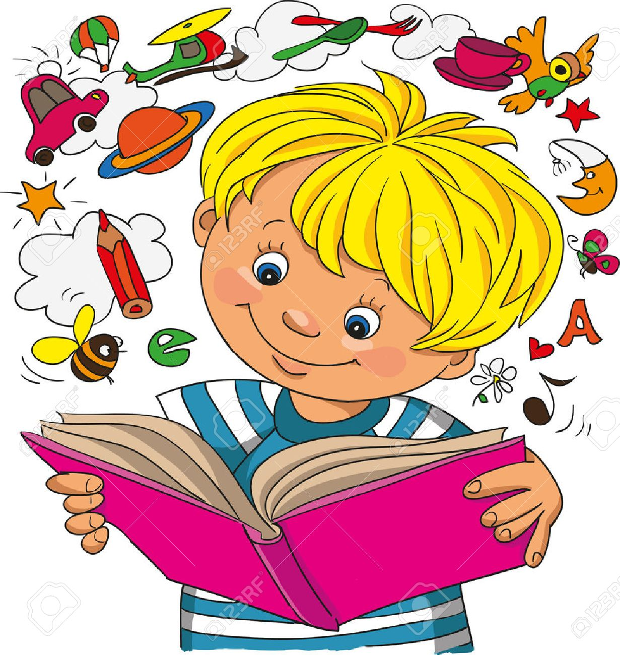 A little boy studies on a book, objects take off from a book - 46205223