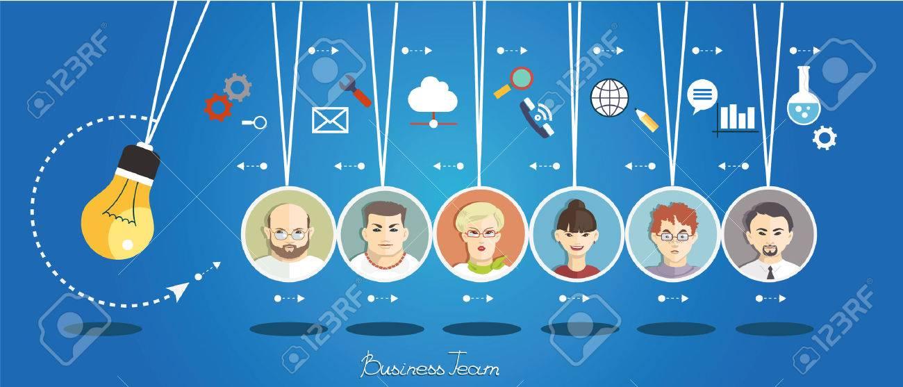 Geschäftsleute Gruppe über konzeptionelle. Silhouetten von Menschen auf dem Hintergrund des Business-Symbole. Partnerschaft. Mind Map-Team. Standard-Bild - 46205377