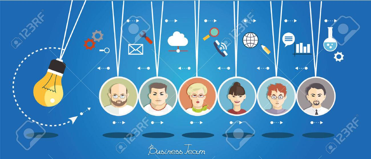 Business people group over conceptual. Silhouettes of people on a background of business icons. Partnership. Mind Map Team. - 46205377