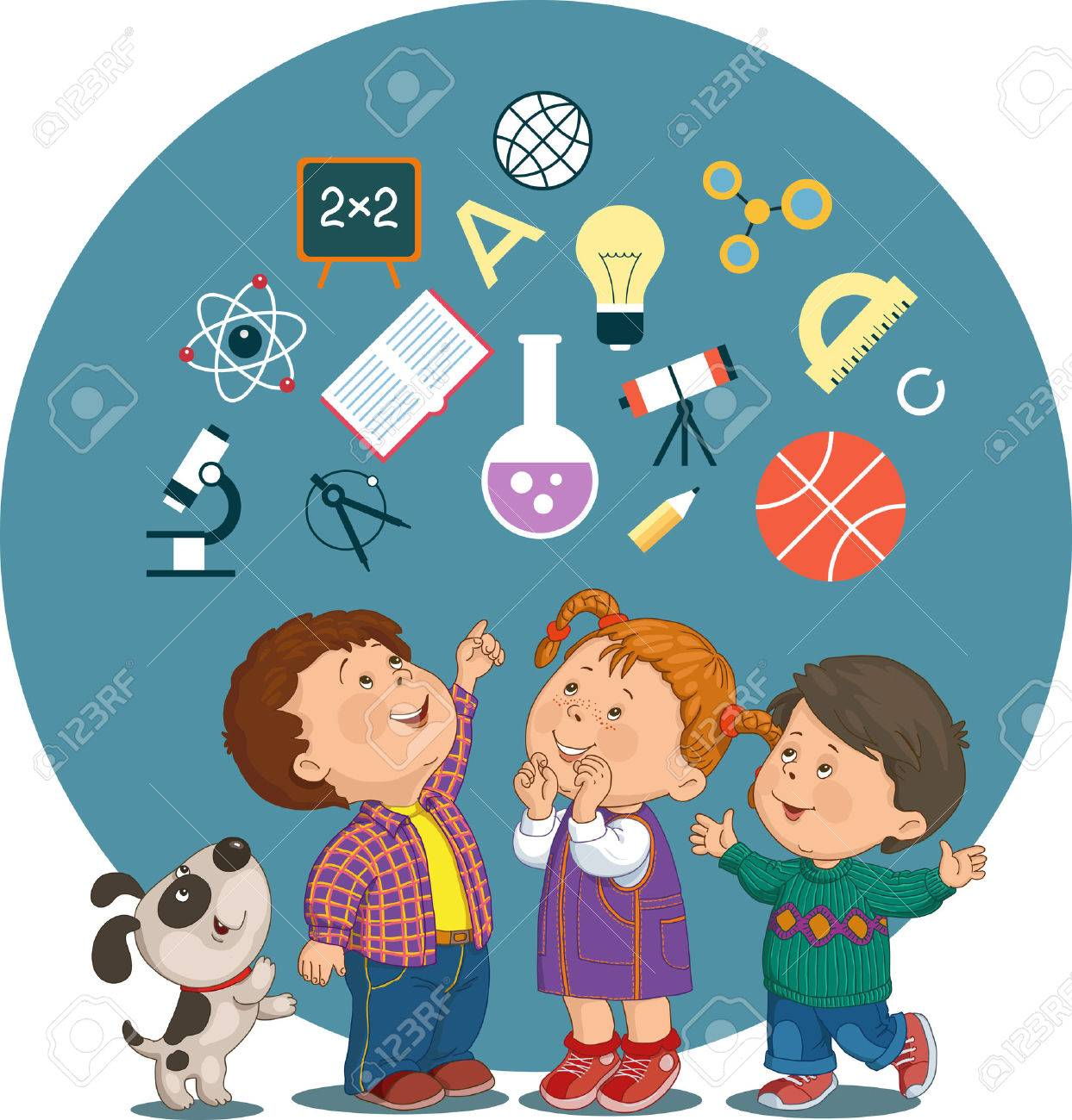 Conceptual illustration of cheerful children with education icons in a circle - 46515240